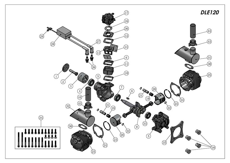 DLE120航模发动机爆炸视图