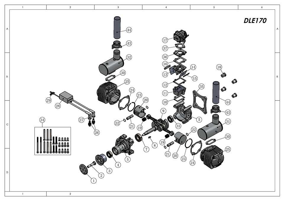 DLE170航模发动机爆炸视图