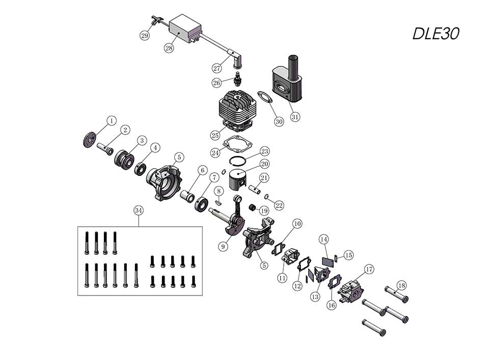 DLE30航模發動機爆炸視圖
