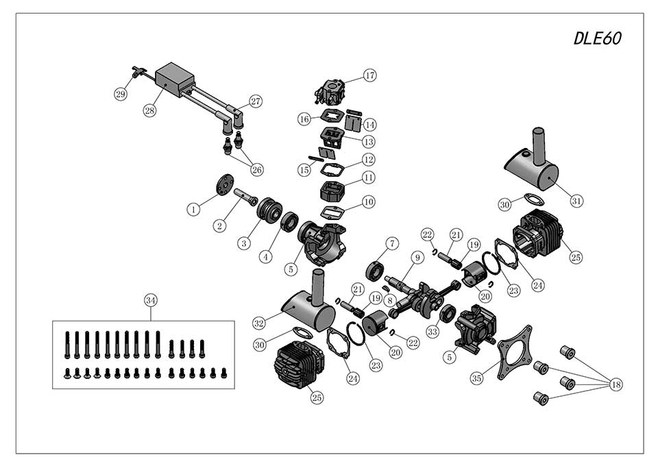 DLE60航模发动机爆炸视图